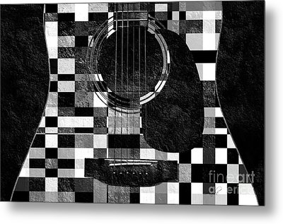 Hour Glass Guitar Random Bw Squares Metal Print by Andee Design