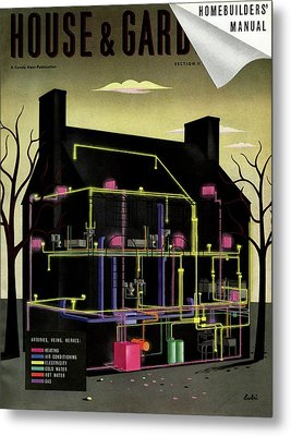 House & Garden Cover Illustration Of The Internal Metal Print by  Bobri
