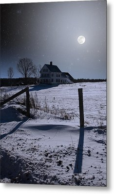 House At Night Metal Print
