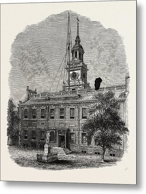 House At Philadelphia In Which The First Congresses Metal Print by American School