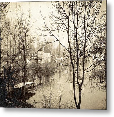 House Flooded Suburb Of Paris Seen Through Bare Trees Metal Print