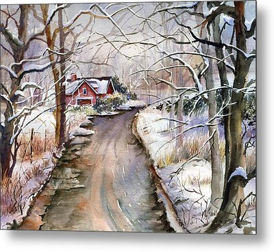 House In Snow Metal Print by Beth Kantor