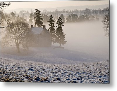 House In The Mist Metal Print