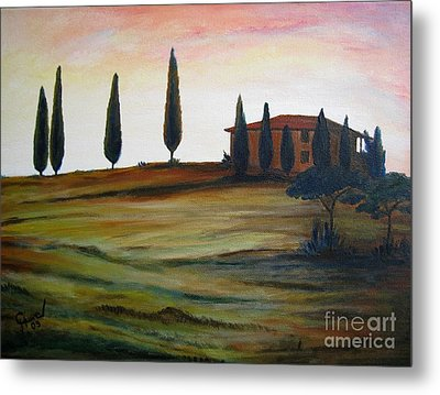 House In Tuscany Metal Print by Christine Huwer