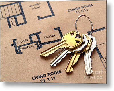 House Keys On Real Estate Housing Floor Plans Metal Print by Olivier Le Queinec