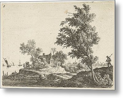 House On The Waterfront, Print Maker Anthonie Waterloo Metal Print by Anthonie Waterloo And Basan Et Poignant And Pierre Fran?ois Basan