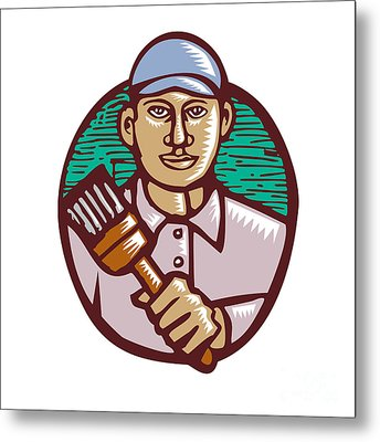 House Painter Paintbrush Woodcut Linocut Metal Print