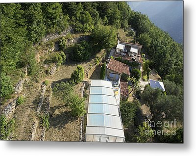 House With A Covered Pool In Mountains Metal Print by Sami Sarkis