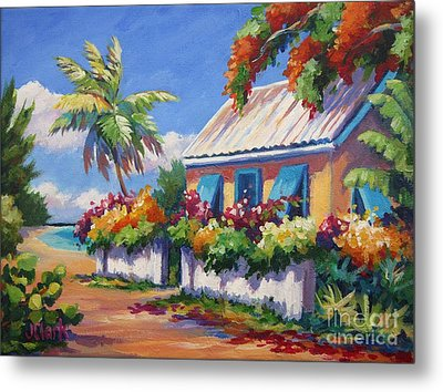 House With Blue Shutters Metal Print