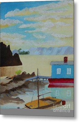 Houseboat Harbor Metal Print