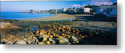 Houses Along The Beach, Rockport Metal Print by Panoramic Images
