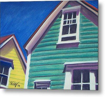 Houses Green And Yellow Metal Print