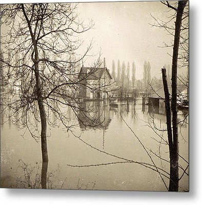 Houses In Flooded Suburb Of Paris Seen Through Bare Trees Metal Print