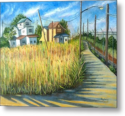 Houses In The Weeds Metal Print