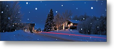 Houses Snowfall Nh Usa Metal Print