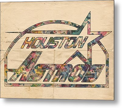 Houston Astros Vintage Art Metal Print