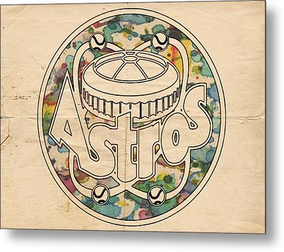 Houston Astros Vintage Poster Metal Print