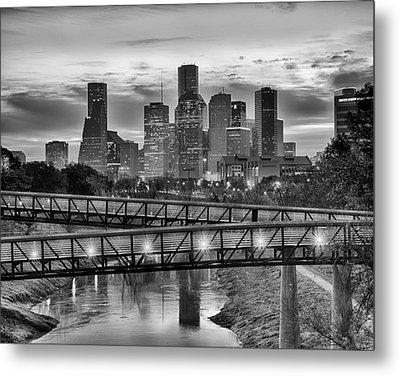 Houston Over The Bridge In Bw Metal Print