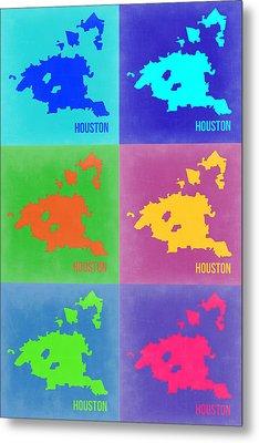 Houston Pop Art Map 3 Metal Print by Naxart Studio