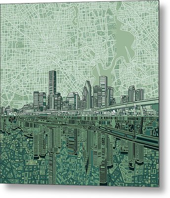 Houston Skyline Abstract 2 Metal Print
