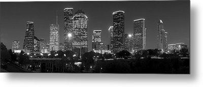 Houston Skyline At Night Black And White Bw Metal Print