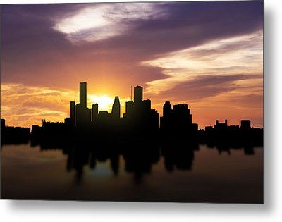 Houston Sunset Skyline  Metal Print by Aged Pixel