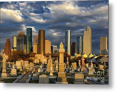 Houston Sunset Skyline Metal Print by Richard Mason