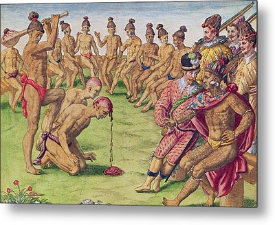 How A Sentry Was Treated For Negligence Metal Print by Jacques Le Moyne