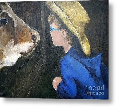 Metal Print featuring the painting How Now...? by Mary Lynne Powers