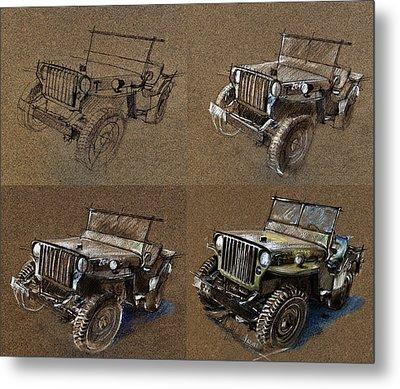 How To Draw A 1943 Willys Jeep Mb Car Metal Print by Daliana Pacuraru
