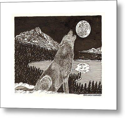 Howling Coyote Full Moon Ho0wling Metal Print by Jack Pumphrey