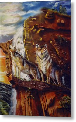 Metal Print featuring the painting Howling For The Nightlife  by Thomas J Herring