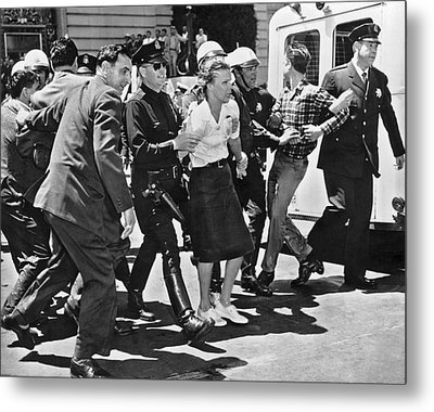 Huac Protesters Arrested In Sf Metal Print by Underwood Archives