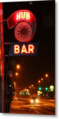 Hub Bar Snowy Night Metal Print by Sylvia Thornton