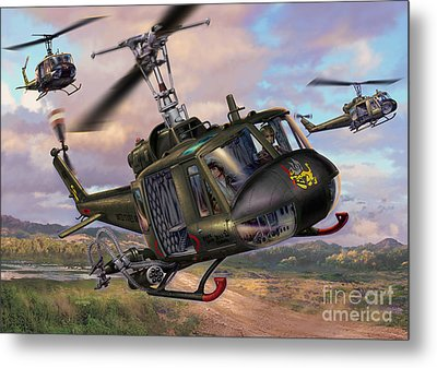 Hueys In The Lz Metal Print by Stu Shepherd