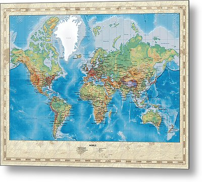 Huge Hi Res Mercator Projection Physical And Political Relief World Map Metal Print