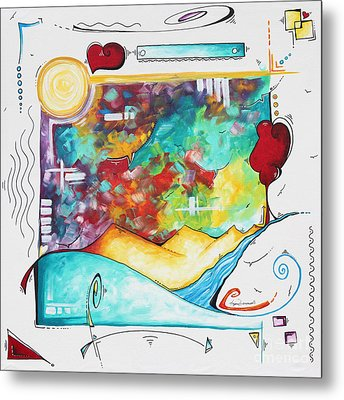 Huge Original Pop Art Style Painting Unique Fun Colorful Art By Megan Duncanson Metal Print