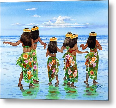 Hula Dancers Hawaii Metal Print by John YATO