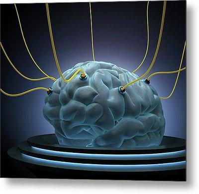 Human Brain With Sensors Metal Print by Ktsdesign