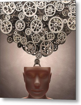 Human Head With Cogs Metal Print by Ktsdesign