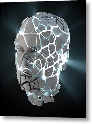 Human Head With Cracks Metal Print by Andrzej Wojcicki
