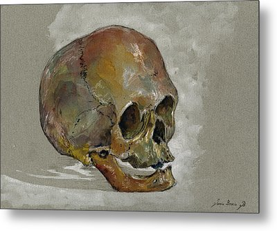Human Skull Study Metal Print by Juan  Bosco