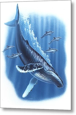 Humback And Dolphins Metal Print by JQ Licensing