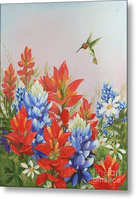 Humming Bird In Wildflowers Metal Print