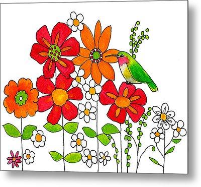 Hummingbird And Flowers Metal Print by Blenda Studio