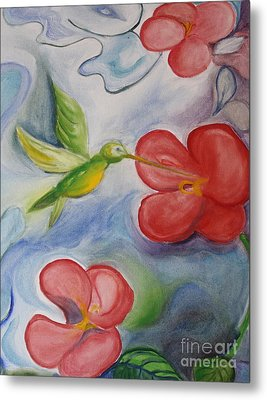 Hummingbird And Hibiscus Metal Print by Teresa Hutto