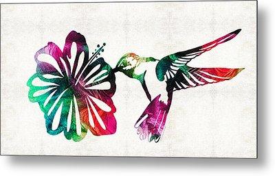Hummingbird Art - Tropical Chorus - By Sharon Cummings Metal Print by Sharon Cummings