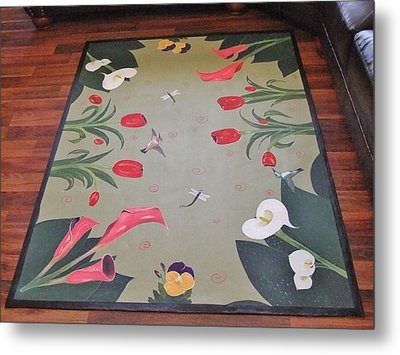 Hummingbird Garden Metal Print by Cindy Micklos
