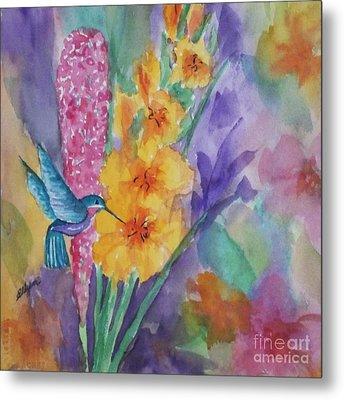 Hummingbird Heaven - Square Metal Print