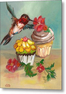 hummingbird with 2 Cupcakes Metal Print